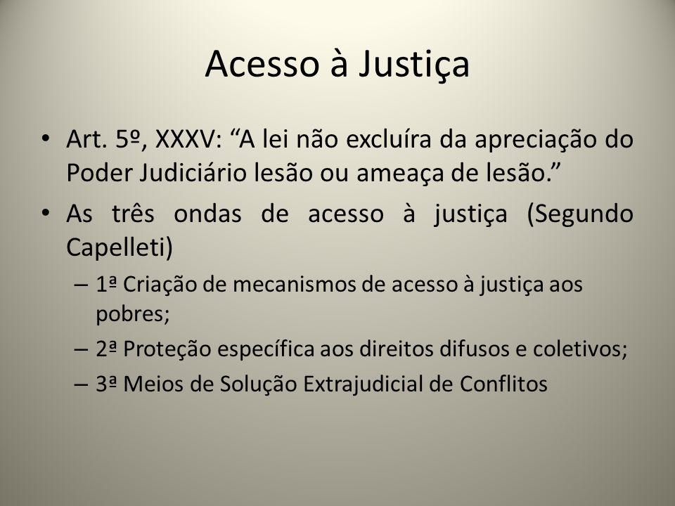 Acesso à Justiça Art. 5º, XXXV: A lei não excluíra da apreciação do Poder Judiciário lesão ou ameaça de lesão. As três ondas de acesso à justiça (Segu