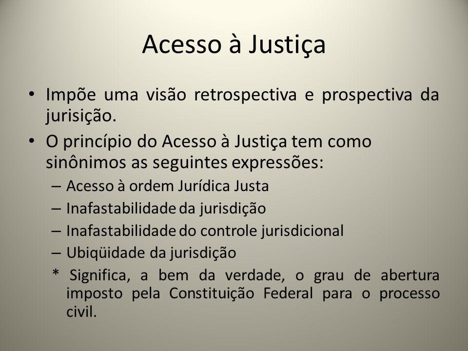 Acesso à Justiça Impõe uma visão retrospectiva e prospectiva da jurisição. O princípio do Acesso à Justiça tem como sinônimos as seguintes expressões: