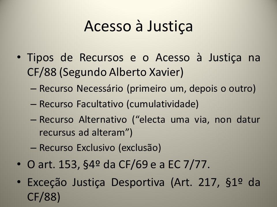 Acesso à Justiça Tipos de Recursos e o Acesso à Justiça na CF/88 (Segundo Alberto Xavier) – Recurso Necessário (primeiro um, depois o outro) – Recurso