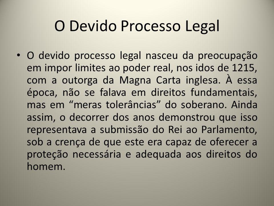 O Devido Processo Legal O devido processo legal nasceu da preocupação em impor limites ao poder real, nos idos de 1215, com a outorga da Magna Carta i