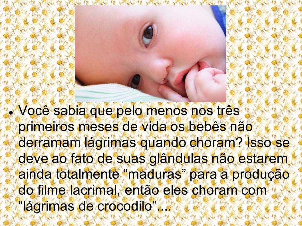 Você sabia que pelo menos nos três primeiros meses de vida os bebês não derramam lágrimas quando choram? Isso se deve ao fato de suas glândulas não es