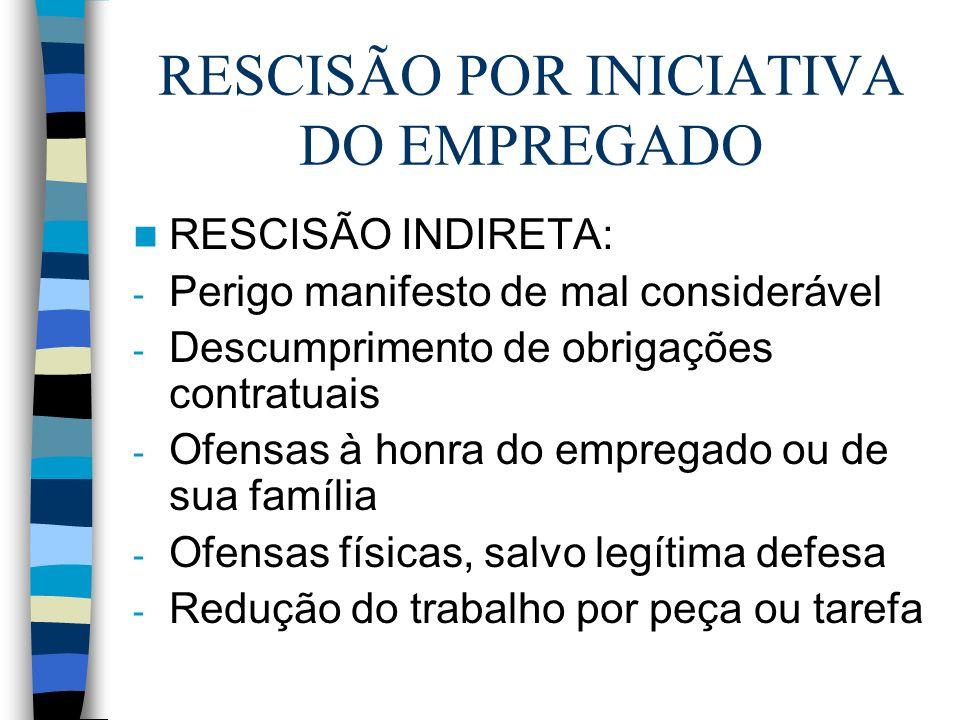 RESCISÃO POR INICIATIVA DO EMPREGADO RESCISÃO INDIRETA: - Perigo manifesto de mal considerável - Descumprimento de obrigações contratuais - Ofensas à