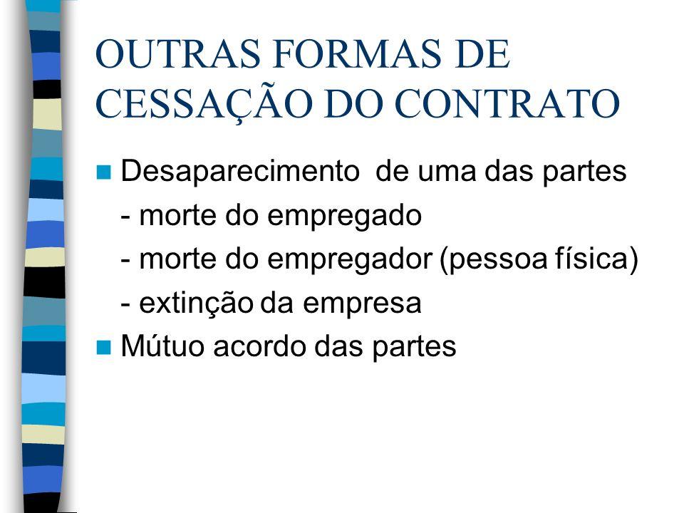 OUTRAS FORMAS DE CESSAÇÃO DO CONTRATO Desaparecimento de uma das partes - morte do empregado - morte do empregador (pessoa física) - extinção da empre
