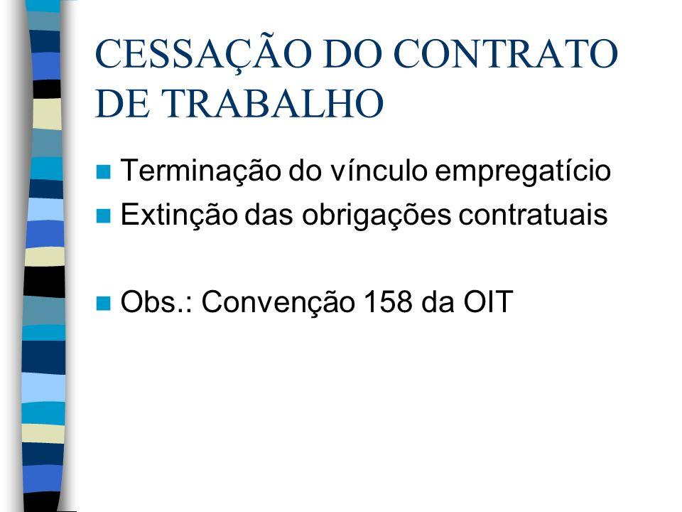 CESSAÇÃO DO CONTRATO DE TRABALHO Terminação do vínculo empregatício Extinção das obrigações contratuais Obs.: Convenção 158 da OIT