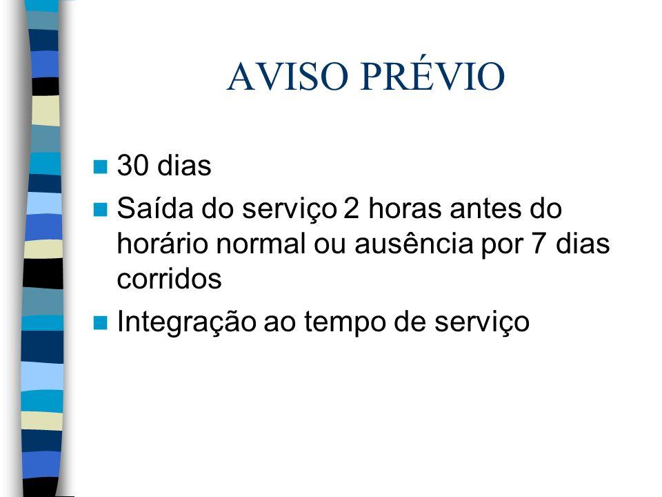 AVISO PRÉVIO 30 dias Saída do serviço 2 horas antes do horário normal ou ausência por 7 dias corridos Integração ao tempo de serviço