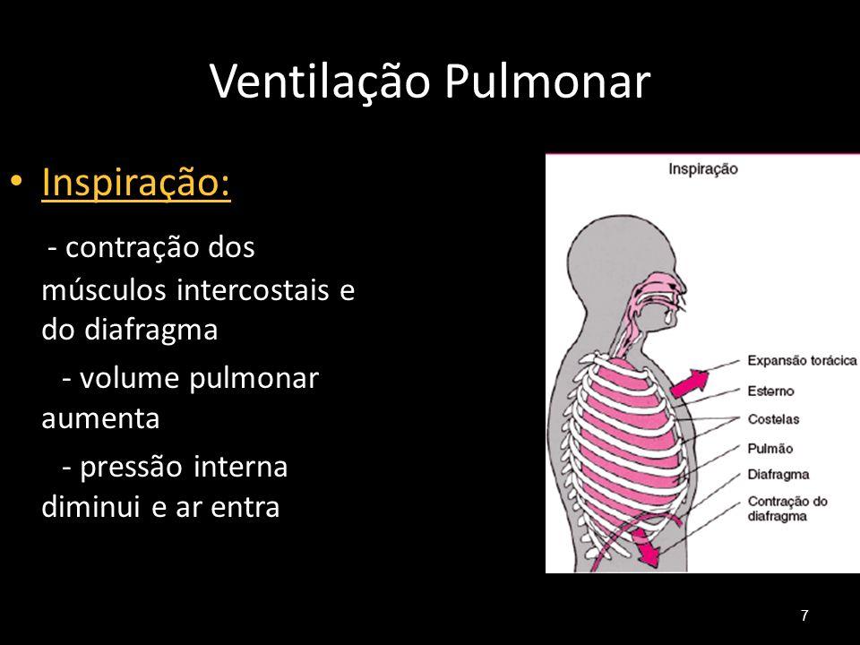 Ventilação Pulmonar 7 Inspiração: - contração dos músculos intercostais e do diafragma - volume pulmonar aumenta - pressão interna diminui e ar entra