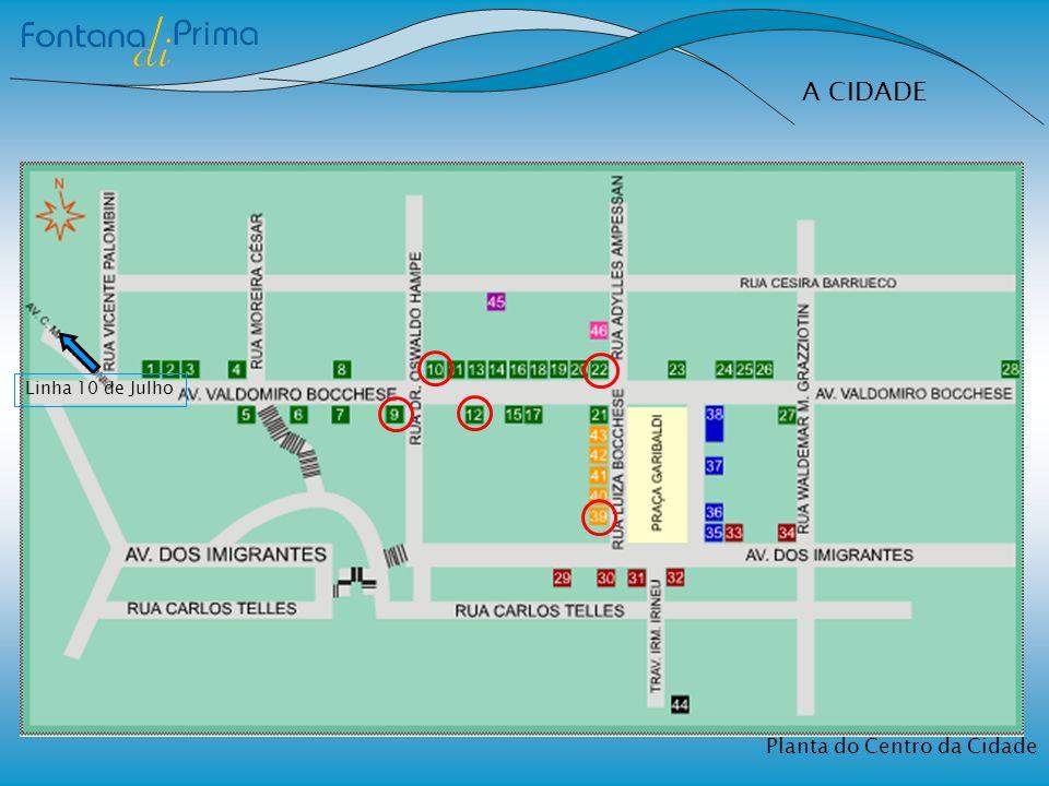A CIDADE Planta do Centro da Cidade Linha 10 de Julho
