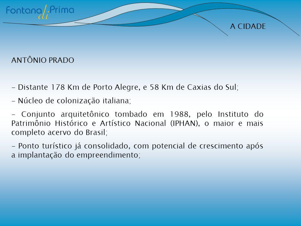 A CIDADE ANTÔNIO PRADO - Distante 178 Km de Porto Alegre, e 58 Km de Caxias do Sul; - Núcleo de colonização italiana; - Conjunto arquitetônico tombado