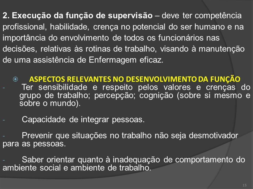 15 2. Execução da função de supervisão – deve ter competência profissional, habilidade, crença no potencial do ser humano e na importância do envolvim