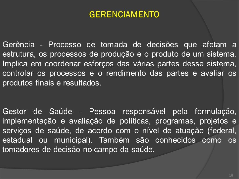 18 GERENCIAMENTO Gerência - Processo de tomada de decisões que afetam a estrutura, os processos de produção e o produto de um sistema. Implica em coor