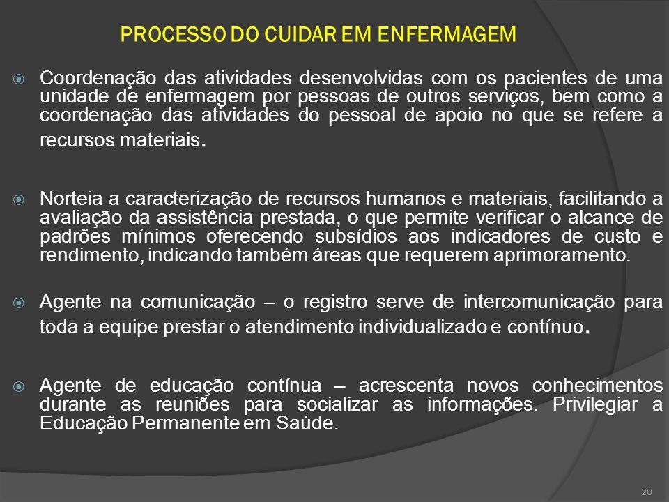 20 PROCESSO DO CUIDAR EM ENFERMAGEM Coordenação das atividades desenvolvidas com os pacientes de uma unidade de enfermagem por pessoas de outros servi