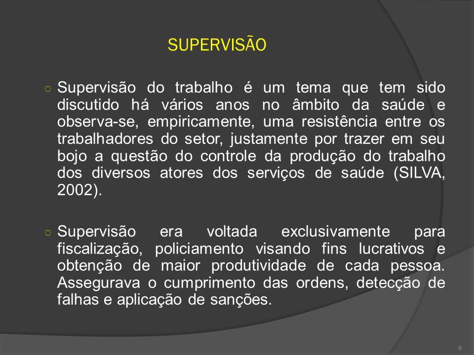 6 SUPERVISÃO Supervisão do trabalho é um tema que tem sido discutido há vários anos no âmbito da saúde e observa-se, empiricamente, uma resistência en