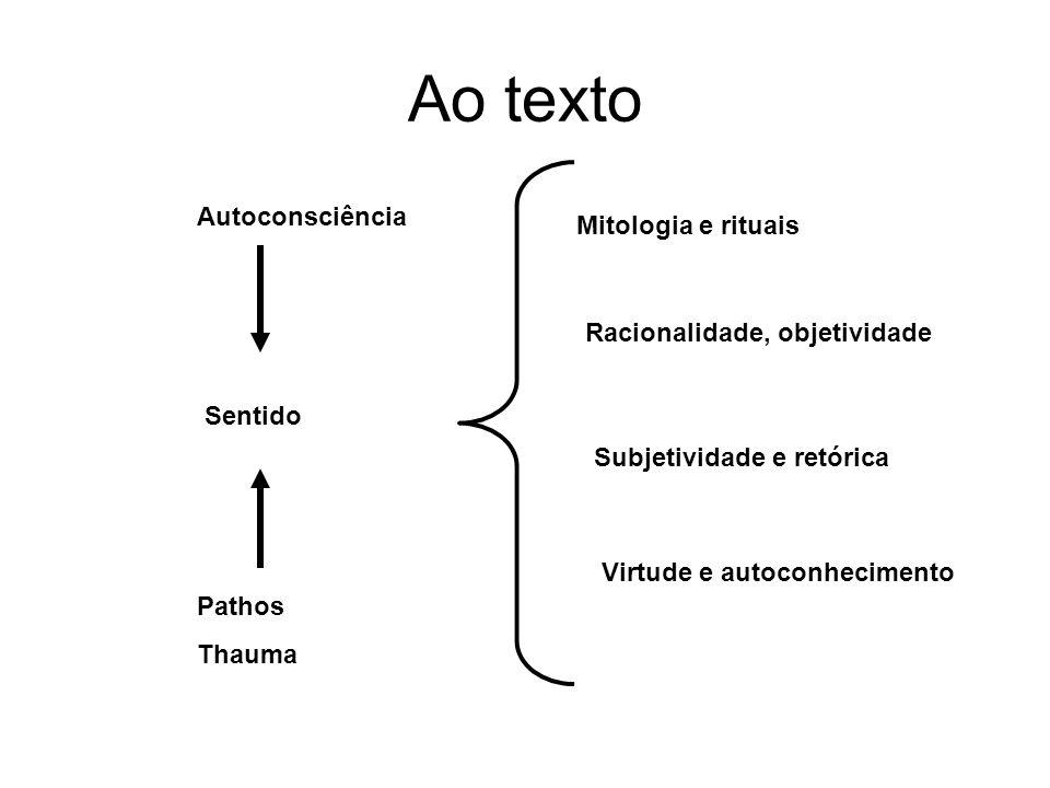 Ao texto Autoconsciência Sentido Pathos Thauma Mitologia e rituais Racionalidade, objetividade Subjetividade e retórica Virtude e autoconhecimento