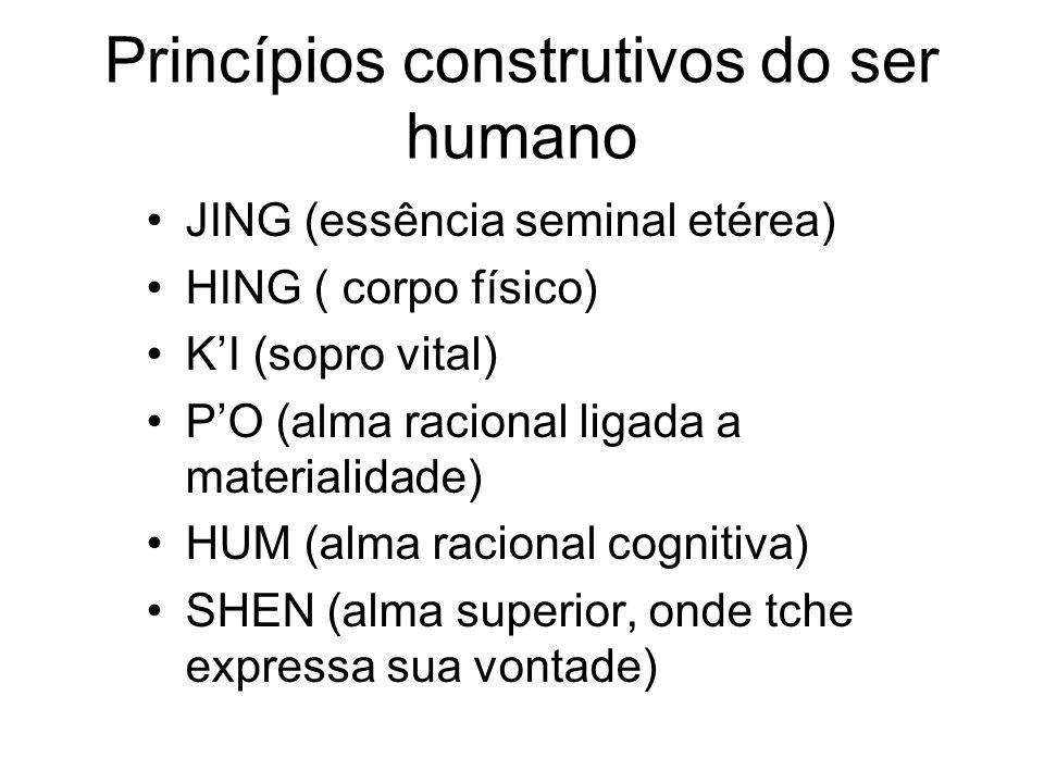 Princípios construtivos do ser humano JING (essência seminal etérea) HING ( corpo físico) KI (sopro vital) PO (alma racional ligada a materialidade) H