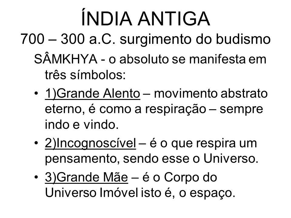 ÍNDIA ANTIGA 700 – 300 a.C. surgimento do budismo SÂMKHYA - o absoluto se manifesta em três símbolos: 1)Grande Alento – movimento abstrato eterno, é c