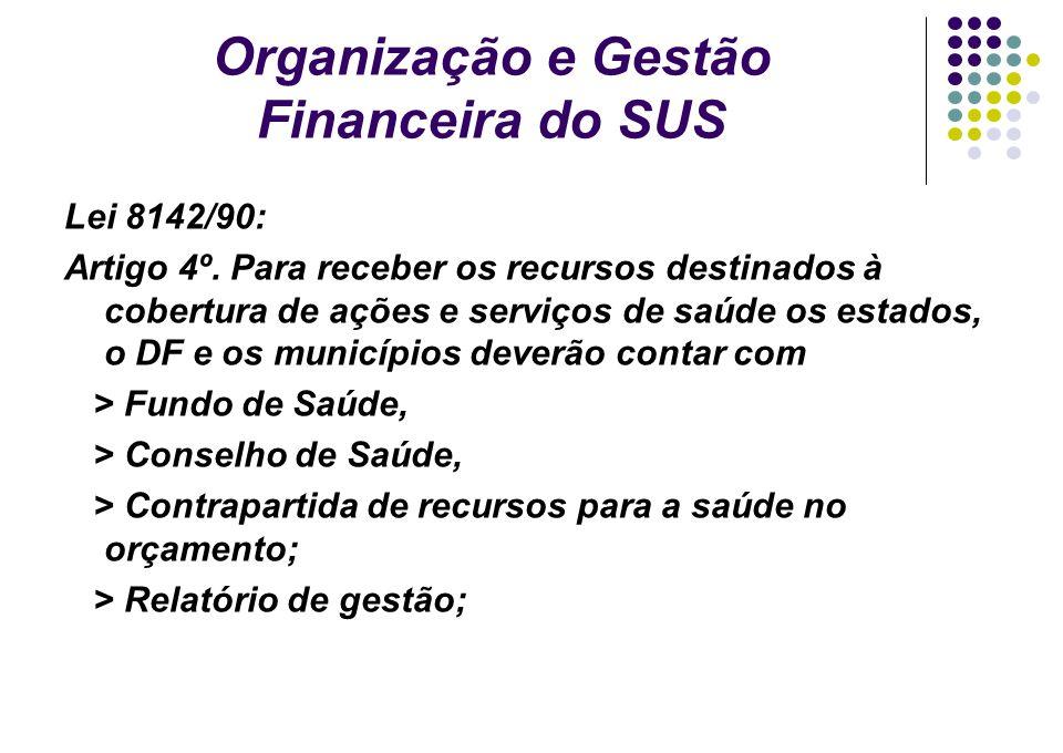 Organização e Gestão Financeira do SUS Lei 8142/90: Artigo 4º. Para receber os recursos destinados à cobertura de ações e serviços de saúde os estados
