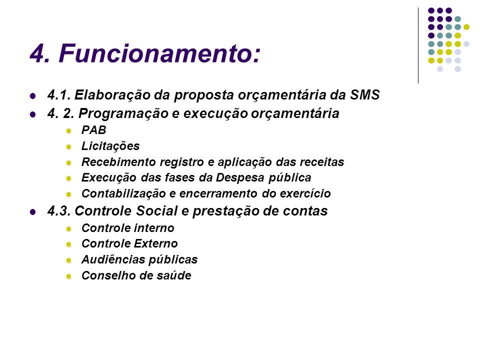 4. Funcionamento: 4.1. Elaboração da proposta orçamentária da SMS 4. 2. Programação e execução orçamentária PAB Licitações Recebimento registro e apli