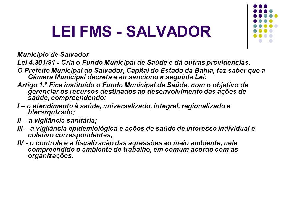 LEI FMS - SALVADOR Município de Salvador Lei 4.301/91 - Cria o Fundo Municipal de Saúde e dá outras providencias. O Prefeito Municipal do Salvador, Ca
