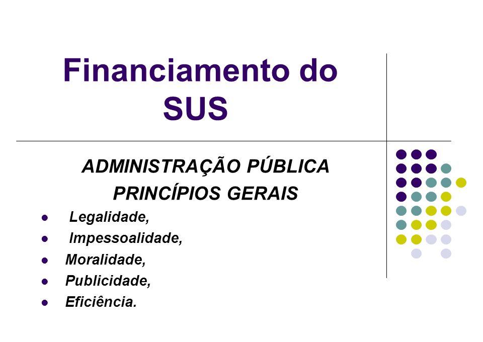 Financiamento do SUS ADMINISTRAÇÃO PÚBLICA PRINCÍPIOS GERAIS Legalidade, Impessoalidade, Moralidade, Publicidade, Eficiência.