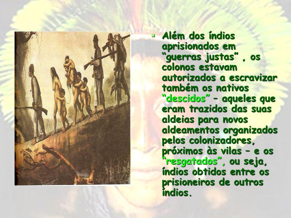 Os portugueses procuraram dominar os índios através da guerra justa, do resgate ou do descimento Os portugueses procuraram dominar os índios através d