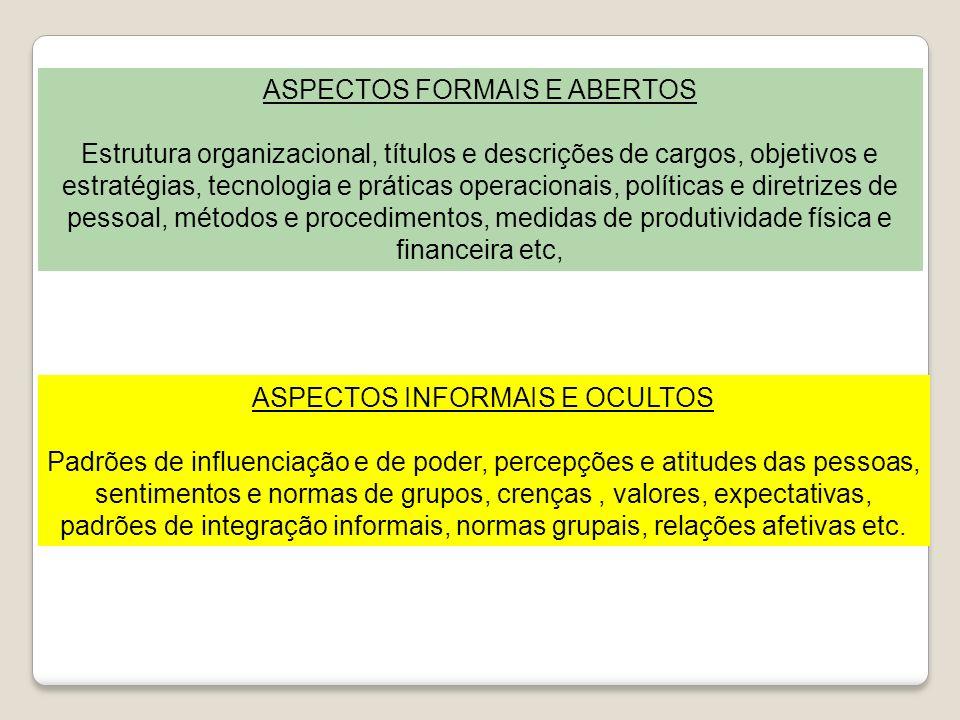 ASPECTOS FORMAIS E ABERTOS Estrutura organizacional, títulos e descrições de cargos, objetivos e estratégias, tecnologia e práticas operacionais, polí