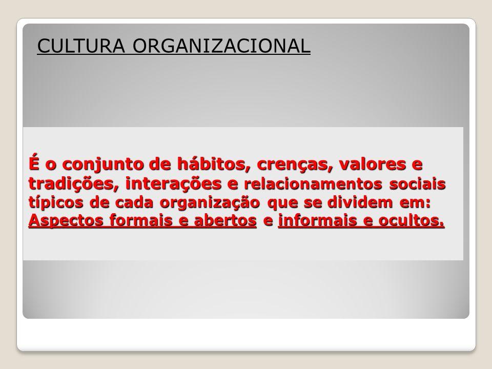 É o conjunto de hábitos, crenças, valores e tradições, interações e relacionamentos sociais típicos de cada organização que se dividem em: Aspectos fo