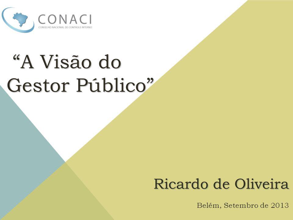 A Visão do A Visão do Gestor Público Ricardo de Oliveira Belém, Setembro de 2013