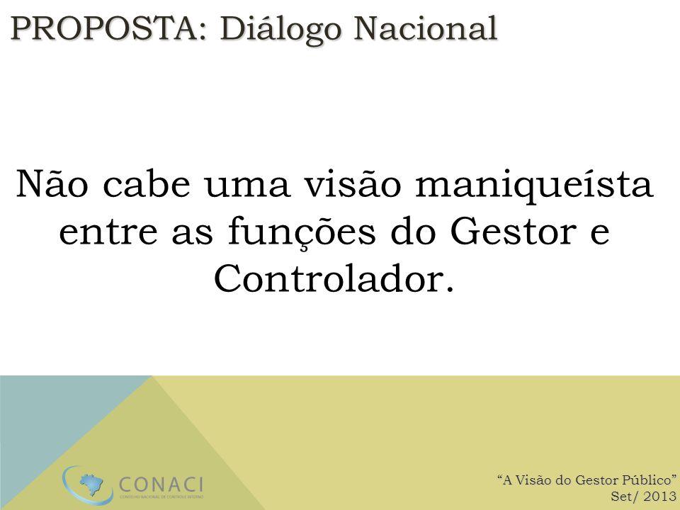 PROPOSTA: Diálogo Nacional Não cabe uma visão maniqueísta entre as funções do Gestor e Controlador. A Visão do Gestor Público Set/ 2013