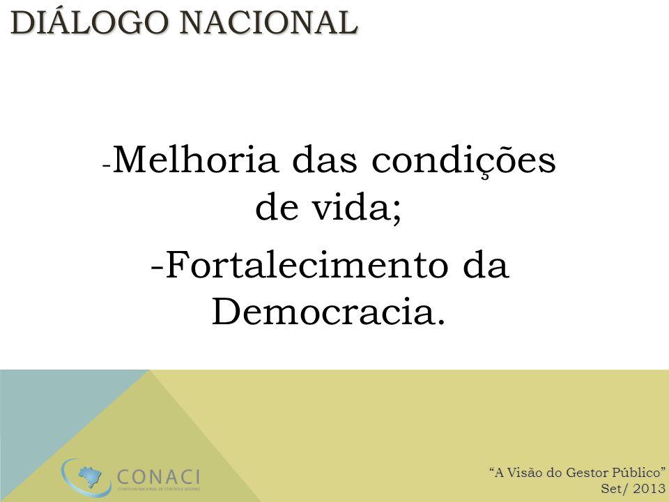 DIÁLOGO NACIONAL - Melhoria das condições de vida; -Fortalecimento da Democracia. A Visão do Gestor Público Set/ 2013