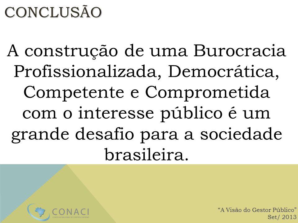 CONCLUSÃO A construção de uma Burocracia Profissionalizada, Democrática, Competente e Comprometida com o interesse público é um grande desafio para a