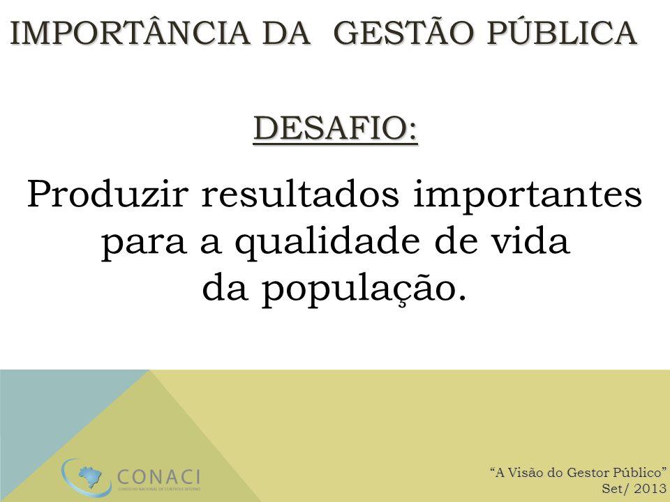 IMPORTÂNCIA DA GESTÃO PÚBLICA A Visão do Gestor Público Set/ 2013 DESAFIO: Produzir resultados importantes para a qualidade de vida da população.