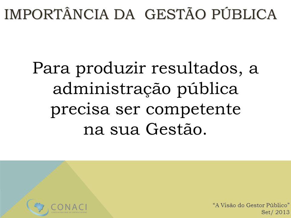 A Visão do Gestor Público Set/ 2013 Para produzir resultados, a administração pública precisa ser competente na sua Gestão. IMPORTÂNCIA DA GESTÃO PÚBL