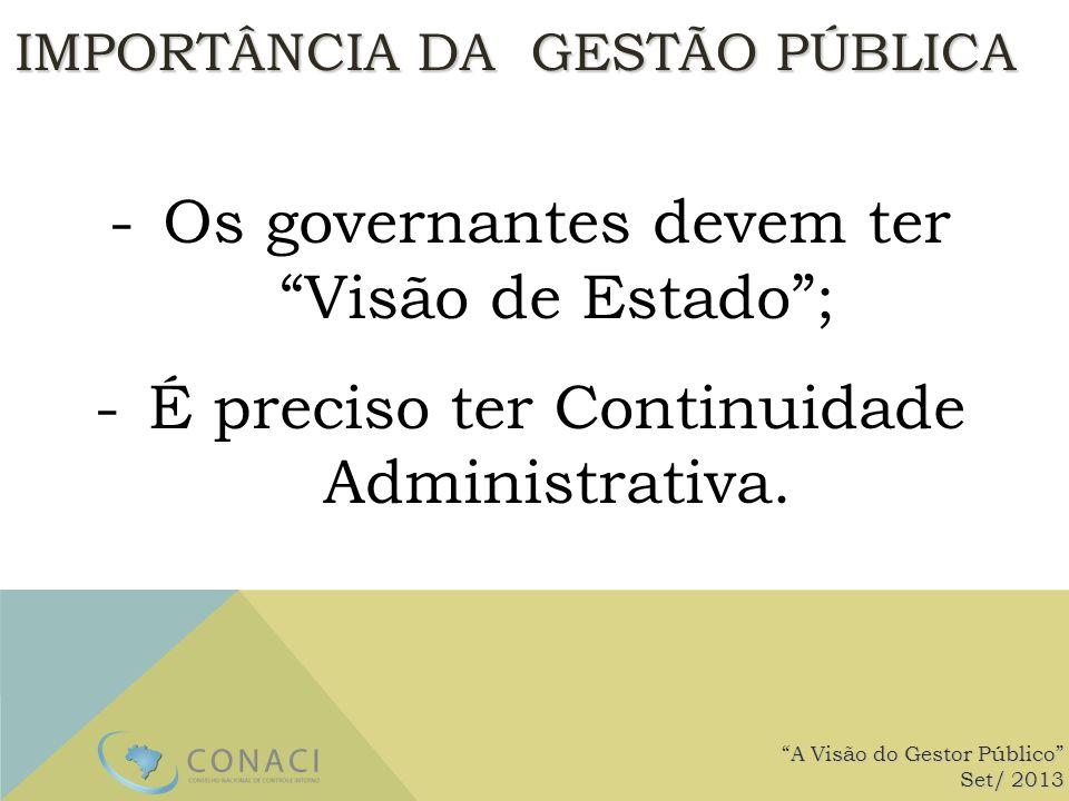 -Os governantes devem ter Visão de Estado; -É preciso ter Continuidade Administrativa. A Visão do Gestor Público Set/ 2013 IMPORTÂNCIA DA GESTÃO PÚBLI