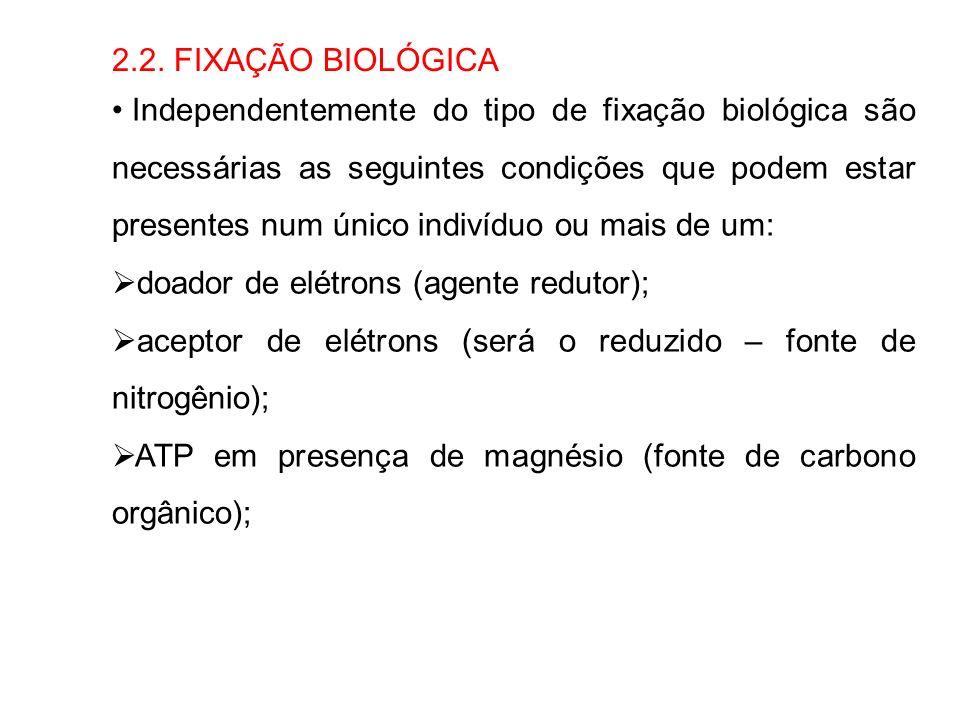 2.2. FIXAÇÃO BIOLÓGICA Independentemente do tipo de fixação biológica são necessárias as seguintes condições que podem estar presentes num único indiv