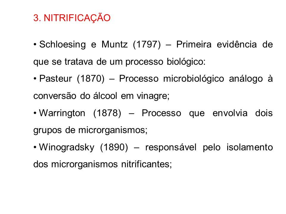 3. NITRIFICAÇÃO Schloesing e Muntz (1797) – Primeira evidência de que se tratava de um processo biológico: Pasteur (1870) – Processo microbiológico an