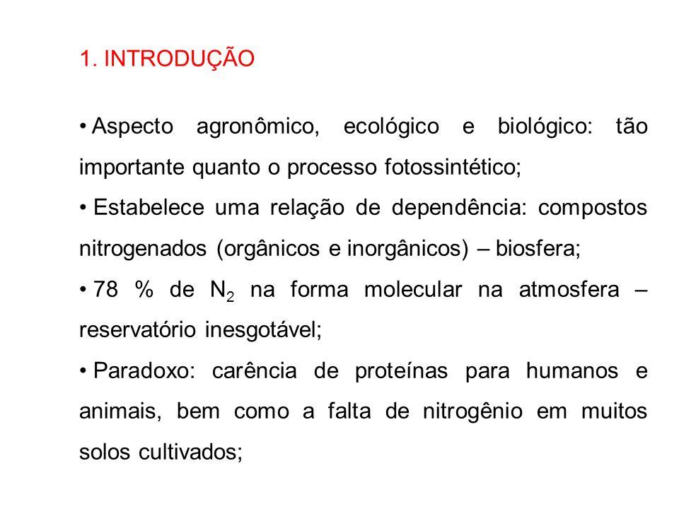 1. INTRODUÇÃO Aspecto agronômico, ecológico e biológico: tão importante quanto o processo fotossintético; Estabelece uma relação de dependência: compo