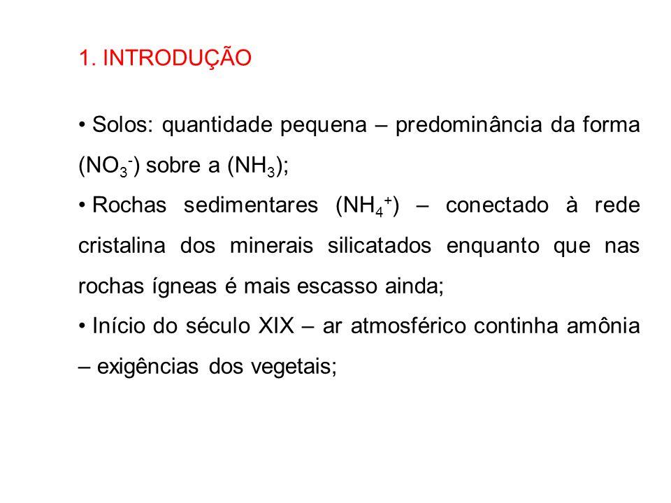 1. INTRODUÇÃO Solos: quantidade pequena – predominância da forma (NO 3 - ) sobre a (NH 3 ); Rochas sedimentares (NH 4 + ) – conectado à rede cristalin