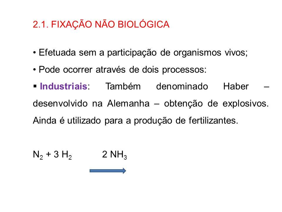 2.1. FIXAÇÃO NÃO BIOLÓGICA Efetuada sem a participação de organismos vivos; Pode ocorrer através de dois processos: Industriais: Também denominado Hab
