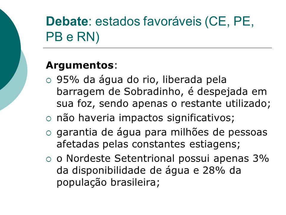 Debate: estados favoráveis (CE, PE, PB e RN) Argumentos: 95% da água do rio, liberada pela barragem de Sobradinho, é despejada em sua foz, sendo apena