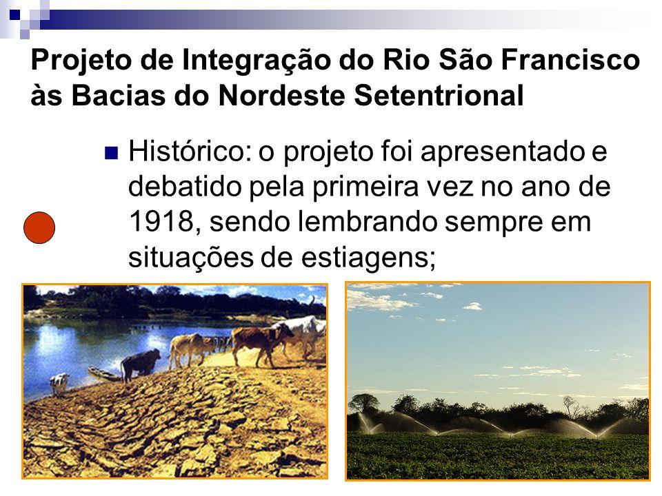 Objetivo do projeto Retirar água do rio São Francisco para irrigar áreas do semi-árido nordestino setentrional, beneficiando agricultores familiares através de 400 pontos de captação.