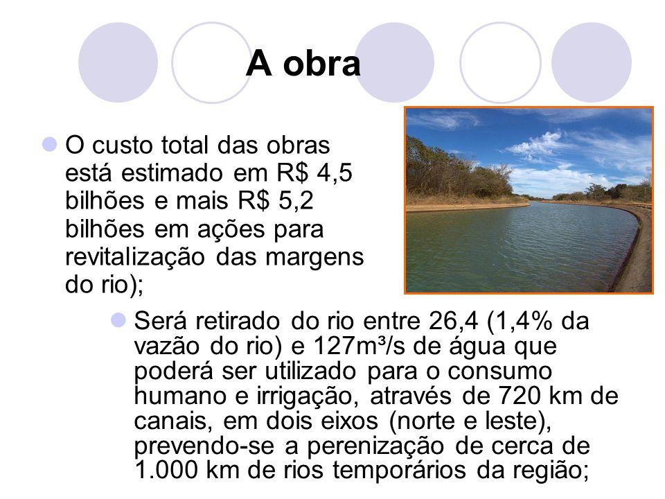 A obra O custo total das obras está estimado em R$ 4,5 bilhões e mais R$ 5,2 bilhões em ações para revitalização das margens do rio); Será retirado do