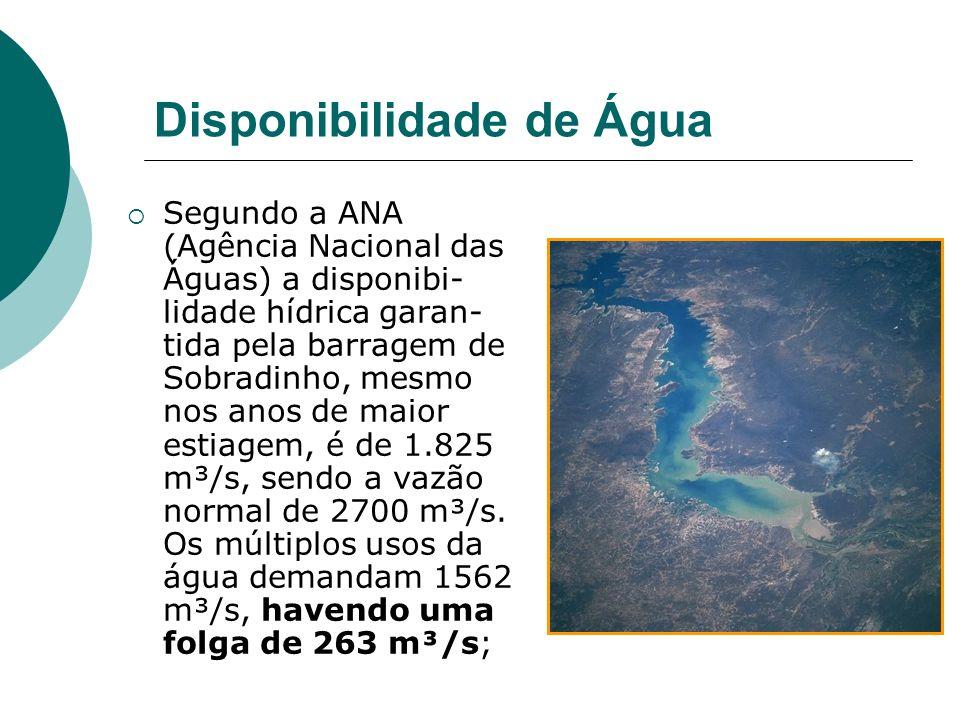 Disponibilidade de Água Segundo a ANA (Agência Nacional das Águas) a disponibi- lidade hídrica garan- tida pela barragem de Sobradinho, mesmo nos anos