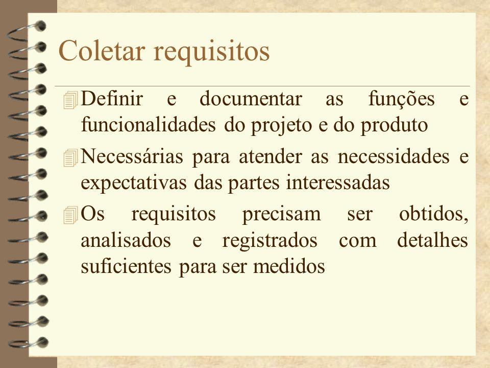 Coletar requisitos 4 Definir e documentar as funções e funcionalidades do projeto e do produto 4 Necessárias para atender as necessidades e expectativ