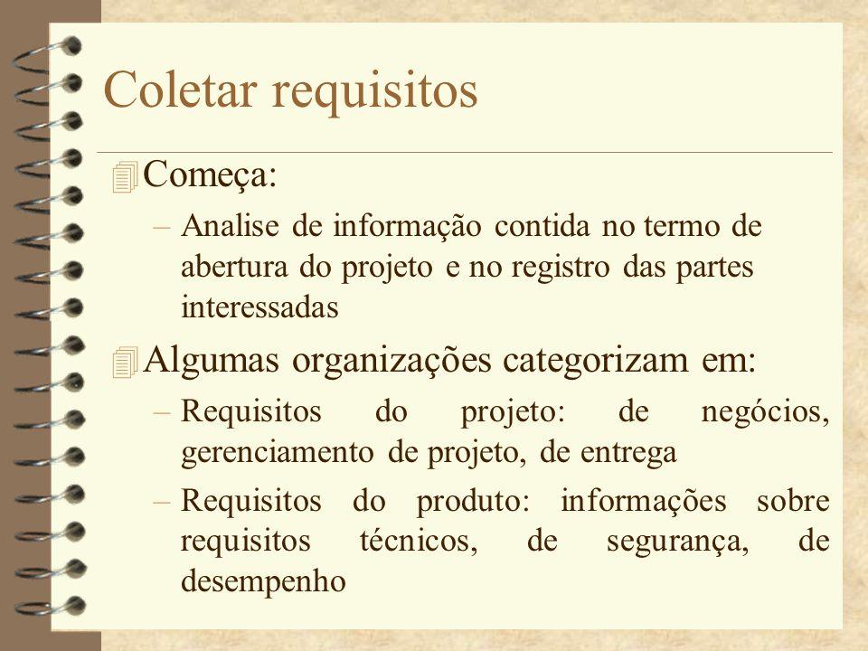 Coletar requisitos 4 Começa: –Analise de informação contida no termo de abertura do projeto e no registro das partes interessadas 4 Algumas organizaçõ
