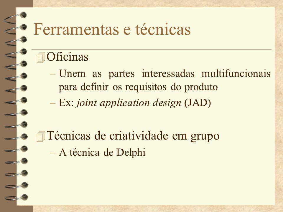 Ferramentas e técnicas 4 Oficinas –Unem as partes interessadas multifuncionais para definir os requisitos do produto –Ex: joint application design (JA
