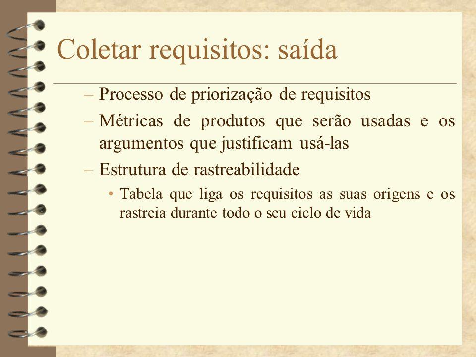 Coletar requisitos: saída –Processo de priorização de requisitos –Métricas de produtos que serão usadas e os argumentos que justificam usá-las –Estrut