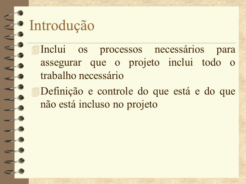 Introdução 4 Inclui os processos necessários para assegurar que o projeto inclui todo o trabalho necessário 4 Definição e controle do que está e do qu