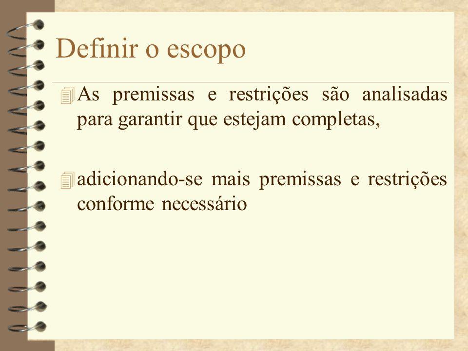 Definir o escopo 4 As premissas e restrições são analisadas para garantir que estejam completas, 4 adicionando-se mais premissas e restrições conforme