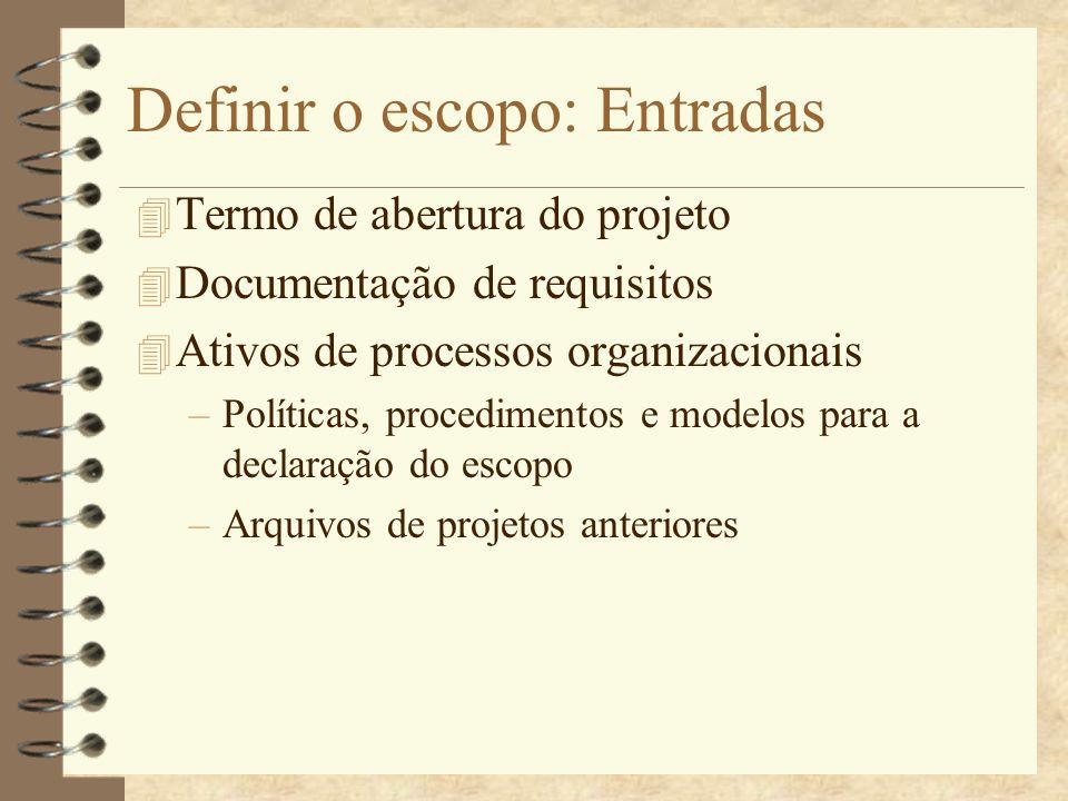 Definir o escopo: Entradas 4 Termo de abertura do projeto 4 Documentação de requisitos 4 Ativos de processos organizacionais –Políticas, procedimentos