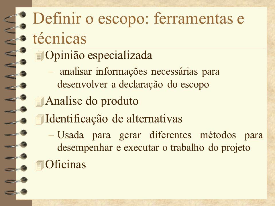Definir o escopo: ferramentas e técnicas 4 Opinião especializada – analisar informações necessárias para desenvolver a declaração do escopo 4 Analise
